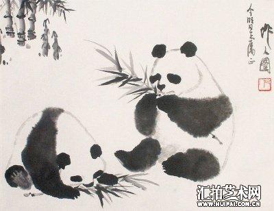 其国画以水墨写意为主,题材多为牦牛,骆驼,熊猫,金鱼等,像《袋鼠图》